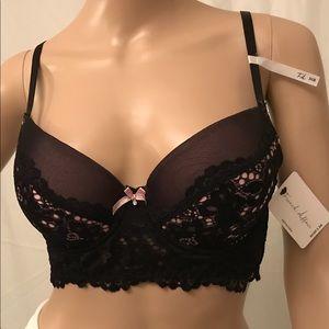 French Affair Black & Pink Lace Bra 36B